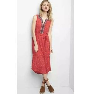 Gap Midi Tiered Embroidered Belted Boho Dress XL